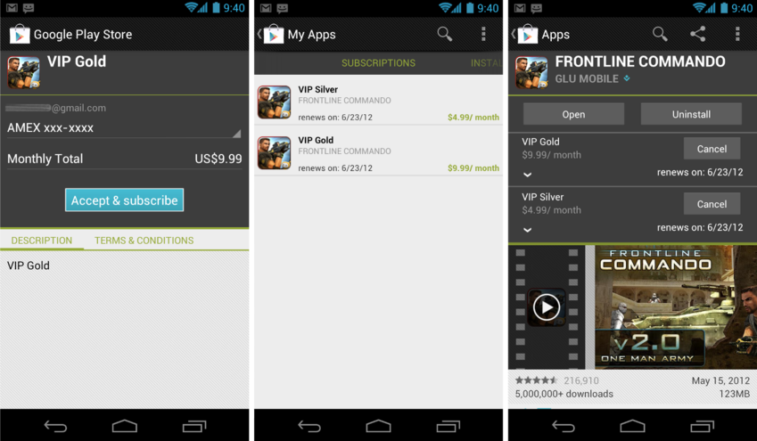 Abonnement Glu Mobile application jeu google play store android