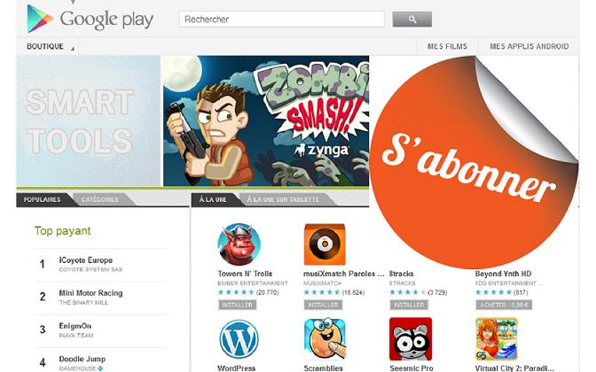 Application jeu abonnement google play store android