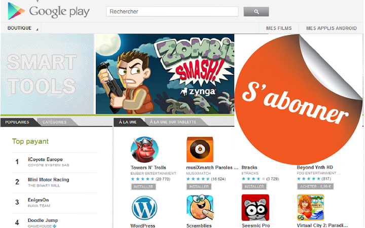 Application jeu android google play store abonnement