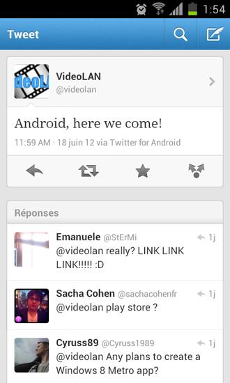 nouveau vlc arrive sur android play store version officielle gratuite twitter