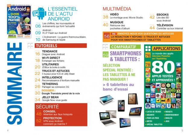Sommaire du magazine Android MT numéro 7 - Parution octobre-novembre 2012