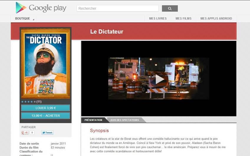 achat de films sur la boutique Google Play