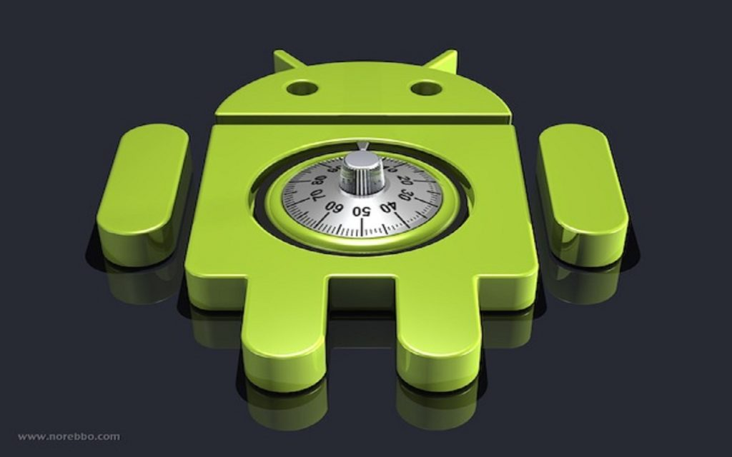 3d illustration of a large green Google Android logo lying upright on a dark reflective surface with a round combination lock dial notched into it