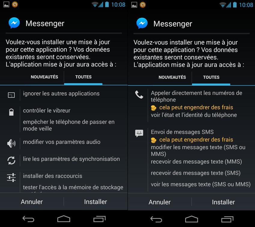 Facebook Messenger requiert un nombre impressionnant de permissions dès l'installation.