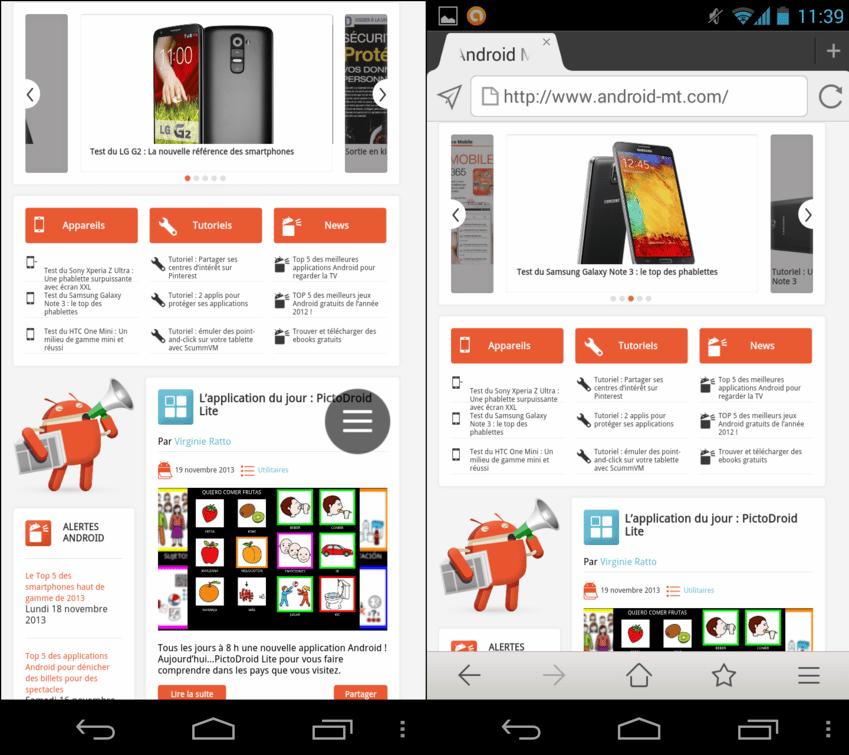 Maxthon Android Web Browser permet d'accéder au mode plein écran, pour surfer dans une position plus confortable, notamment avec une tablette.