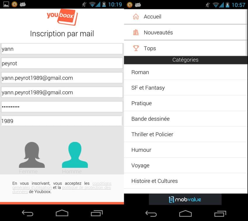 L'inscription à Youboox est facile est rapide et vous le donne le droit de lire les livres numériques qui y sont proposés.