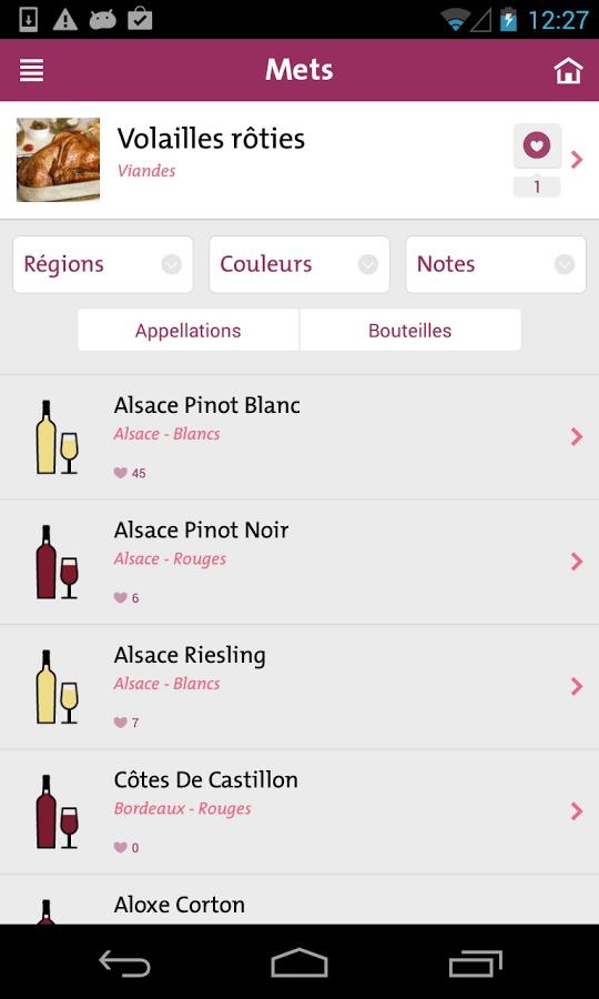 un mets un vin application pour savoir qu 39 accommoder avec un bon vin. Black Bedroom Furniture Sets. Home Design Ideas