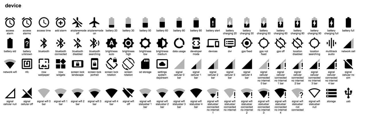 pack d'icônes material design