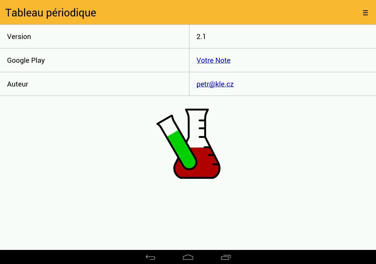 Tableau p riodique pour les apprentis chimistes android mt for W tableau periodique