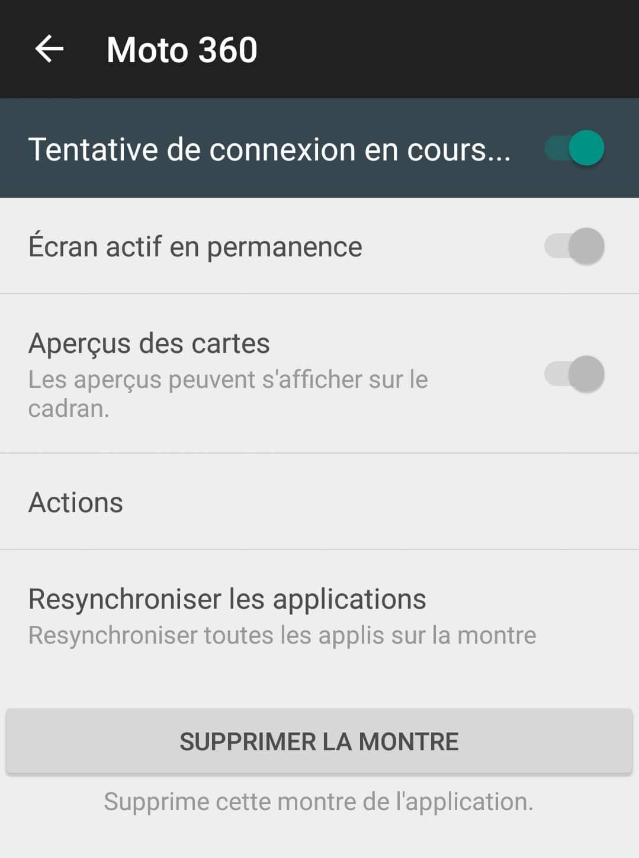 La Moto 360 (2015) a quelques soucis de connexion
