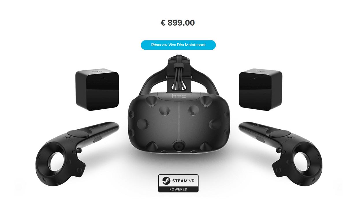 le htc vive disponible et officialis 899 euros avec 3 jeux inclusandroid mt. Black Bedroom Furniture Sets. Home Design Ideas