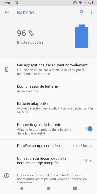android pie batterie