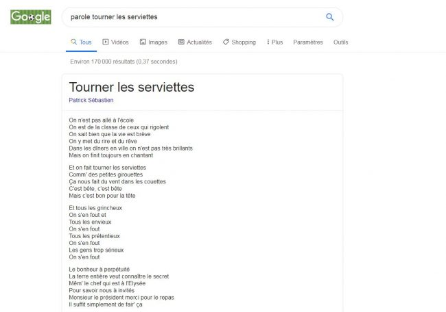 Google OneBox Lyrics