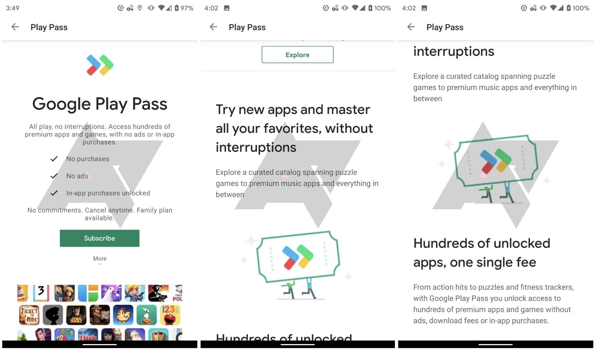 Google Play Pass capture