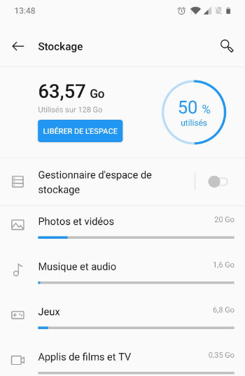 stockage android 10