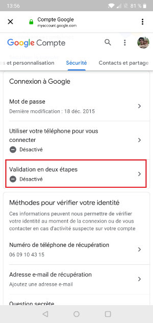 valisation deux étapes android