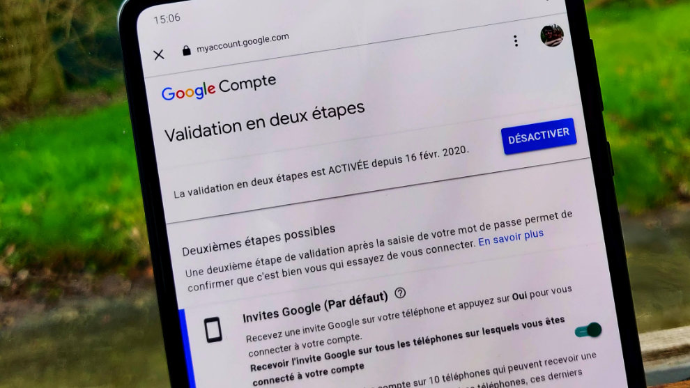 validation google 2 étapes
