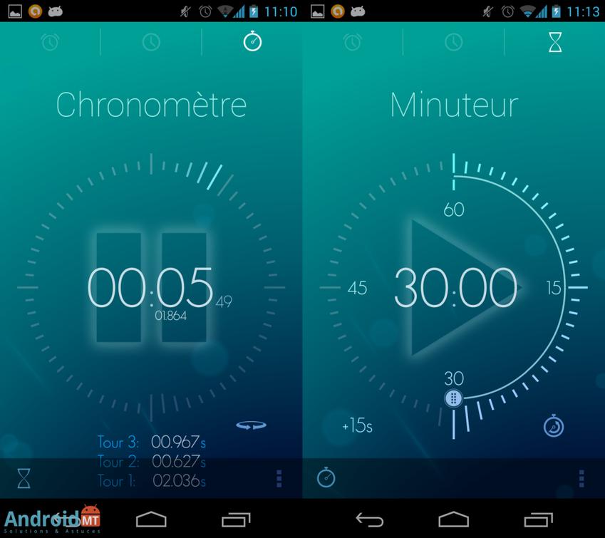 R veil configurer des alarmes sous android et utilser - Chronometre et minuteur ...